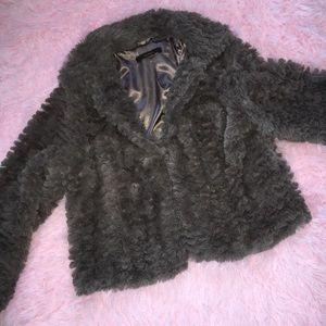 Short fuzzy chocolate brown coat